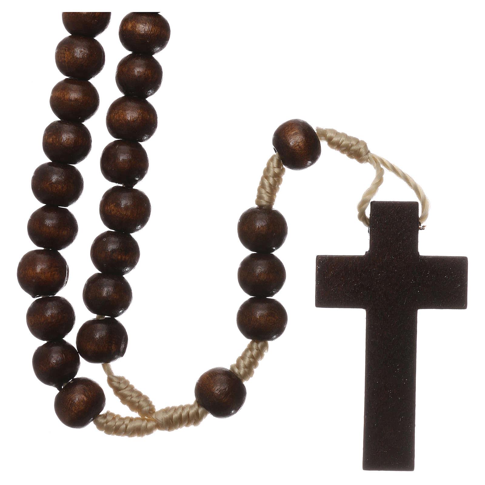 Rosario de madera marrón oscuro 6 mm ligadura de seda 4