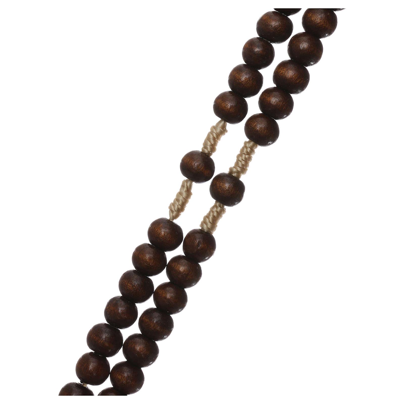 Rosario in legno marrone scuro 6 mm legatura in seta 4