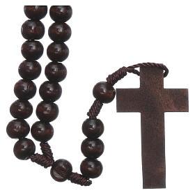 Rosario in legno marrone scuro 6 mm legatura in seta s1