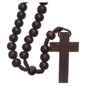 Rosario in legno marrone scuro 6 mm legatura in seta s2