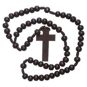 Rosario in legno marrone scuro 6 mm legatura in seta s4