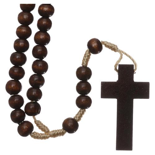 Rosario in legno marrone scuro 6 mm legatura in seta 2