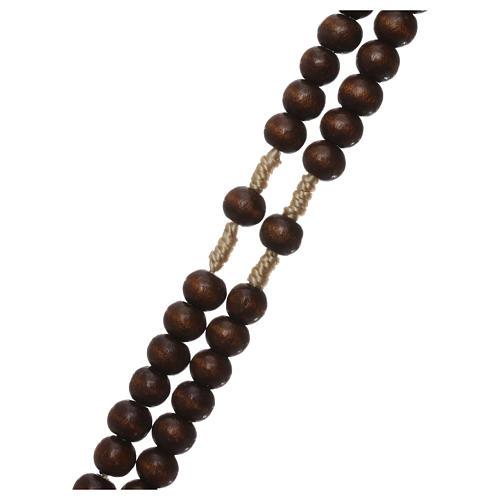 Rosario in legno marrone scuro 6 mm legatura in seta 3