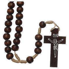 Rosary in dark brown wood 6 mm silk setting s1