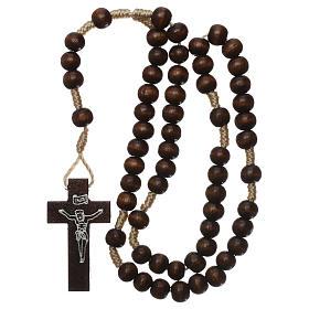 Rosary in dark brown wood 6 mm silk setting s4