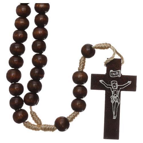 Rosary in dark brown wood 6 mm silk setting 1