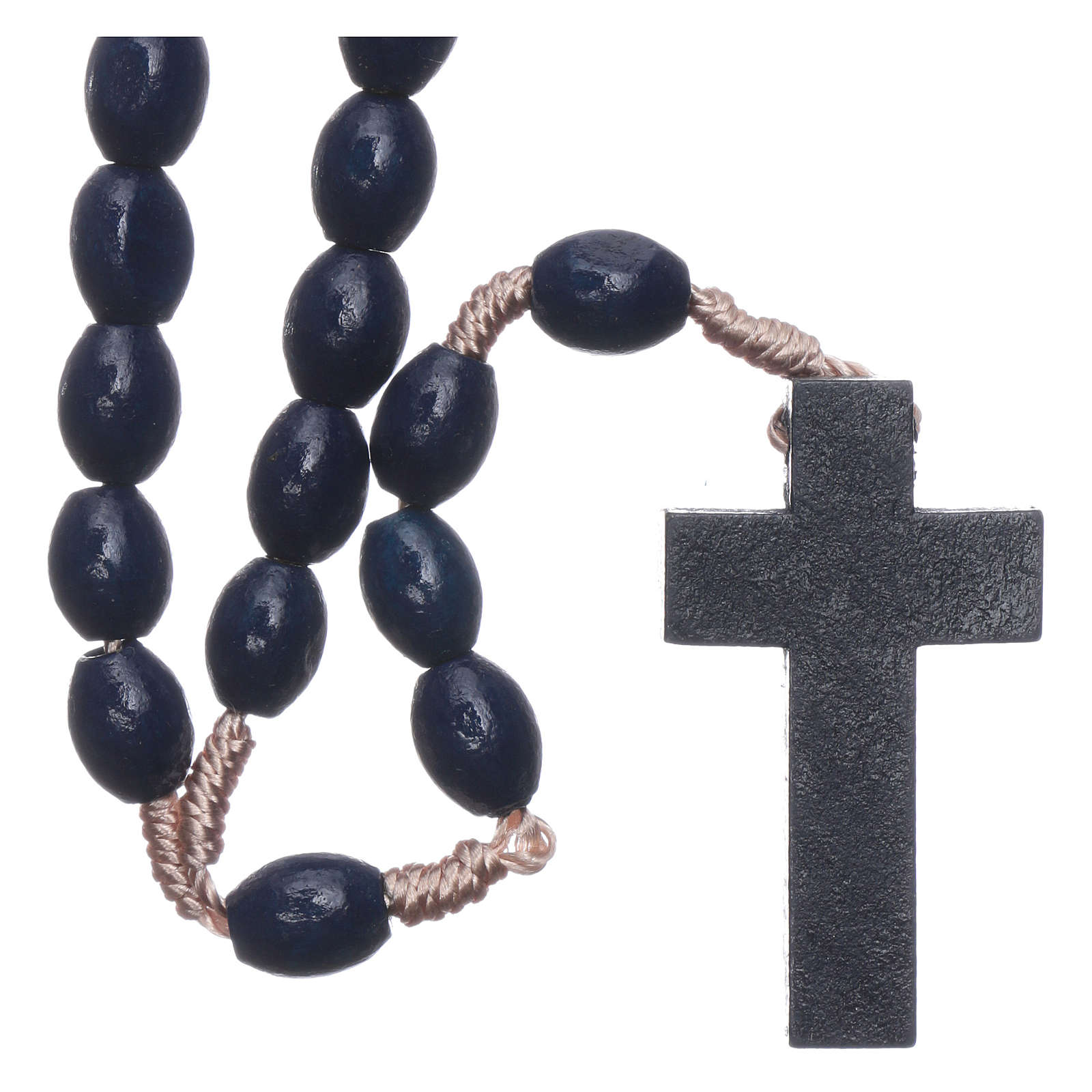Rosary in dark blue wood with oval grains and silk setting 8 mm 4