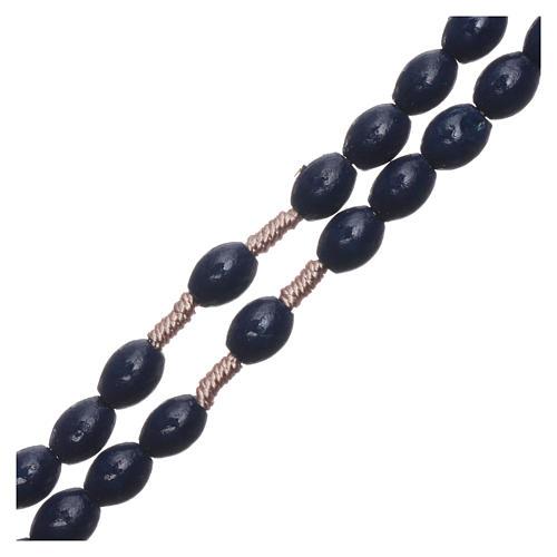 Rosario de madera azul oscuro granos ovalados ligadura seda 8 mm 3