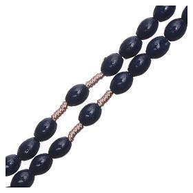 Rosario in legno blu scuro grani ovali legatura seta 8 mm s3