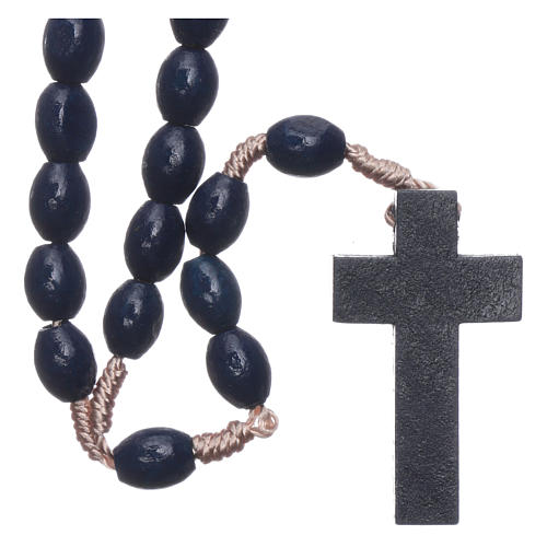 Rosario in legno blu scuro grani ovali legatura seta 8 mm 2