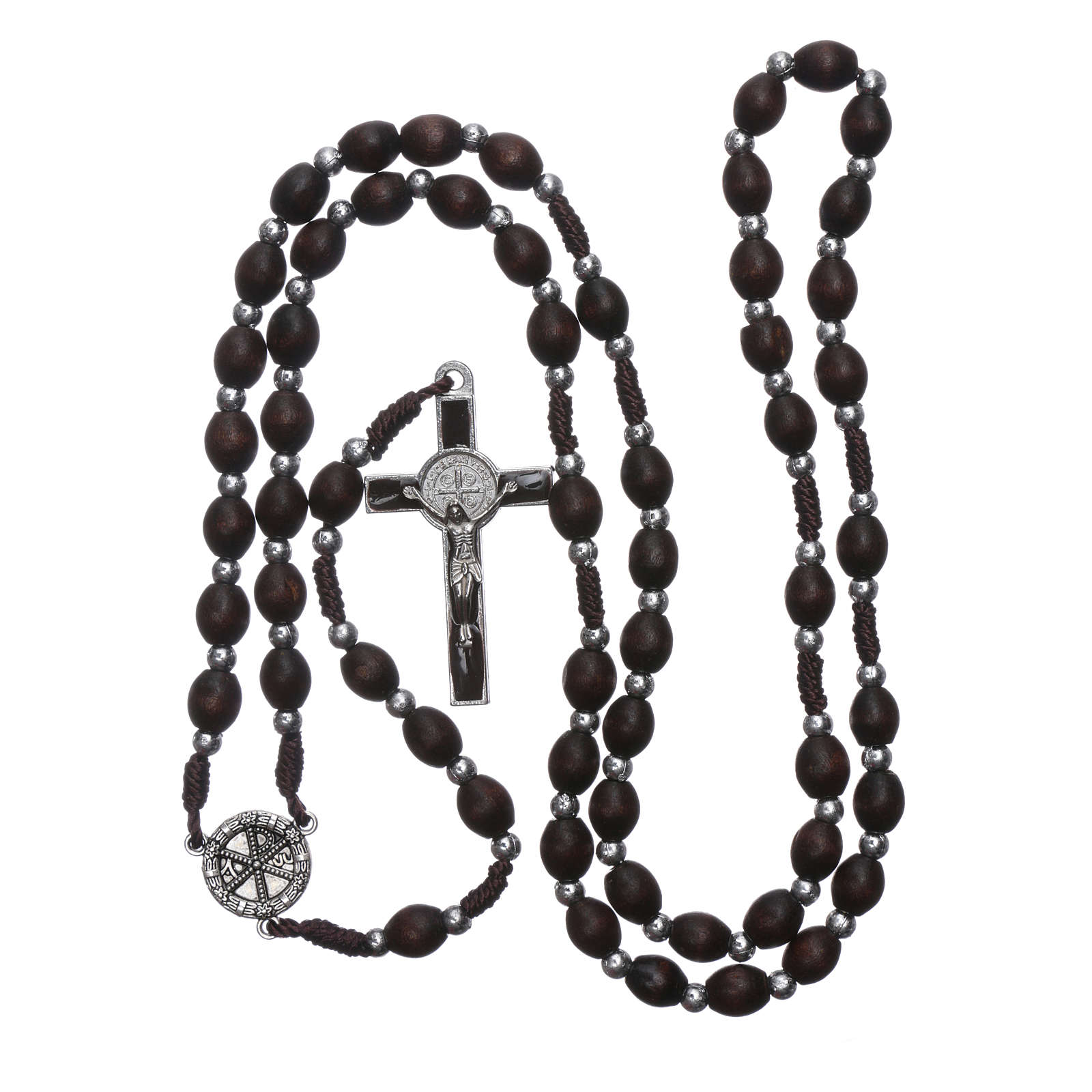Chapelet en bois ovale marron avec perles corde soie 4