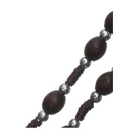 Chapelet en bois ovale marron avec perles corde soie s3