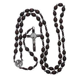 Chapelet en bois ovale marron avec perles corde soie s4