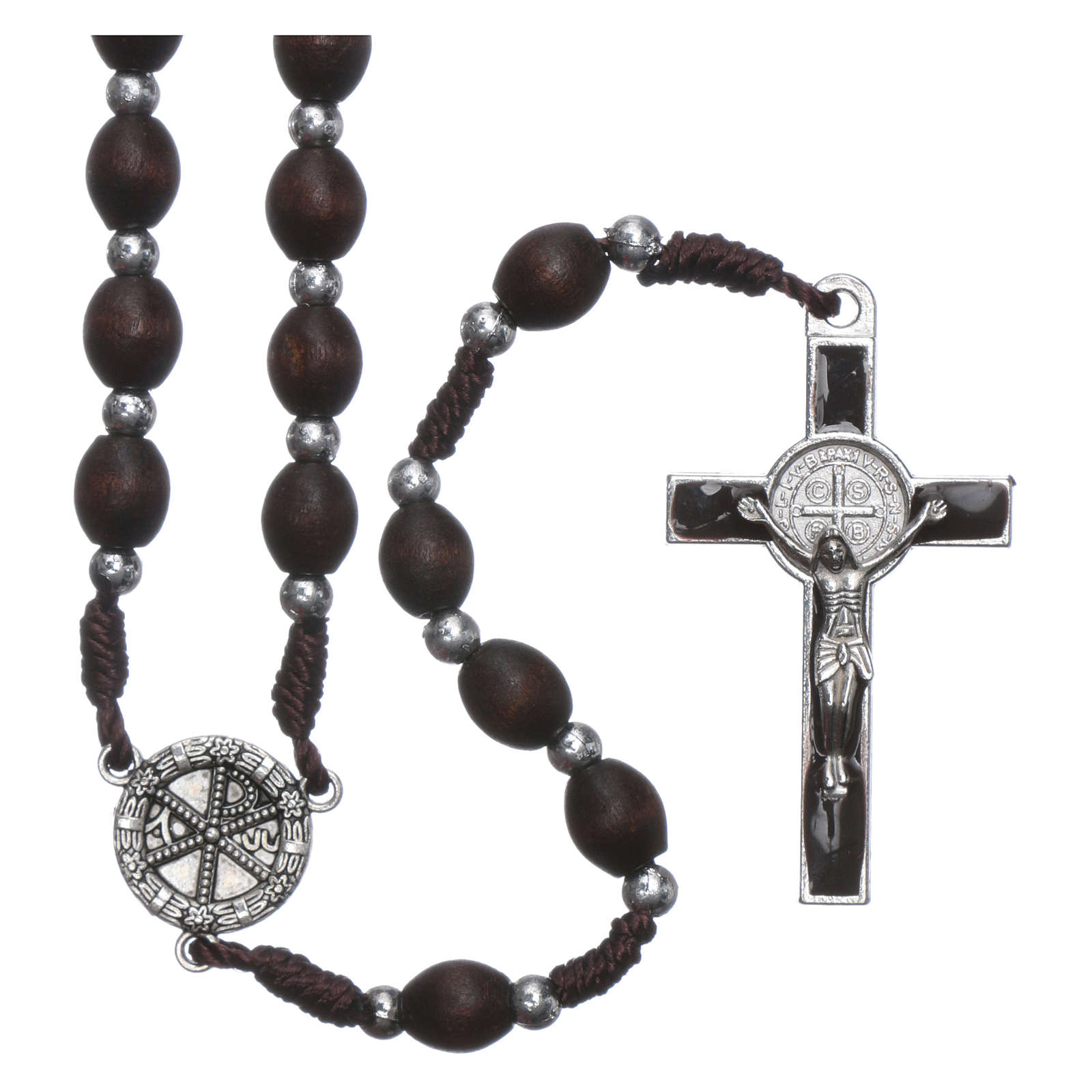 Rosary in oval wood brown with pearls in silver setting 4