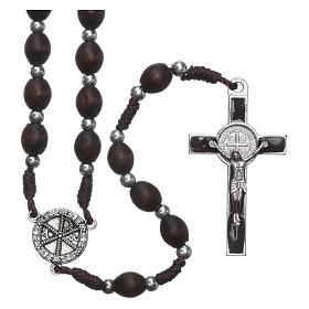 Rosary in oval wood brown with pearls in silver setting s1