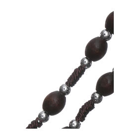 Rosary in oval wood brown with pearls in silver setting s3