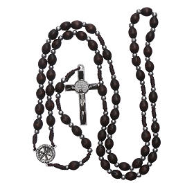 Rosary in oval wood brown with pearls in silver setting s4