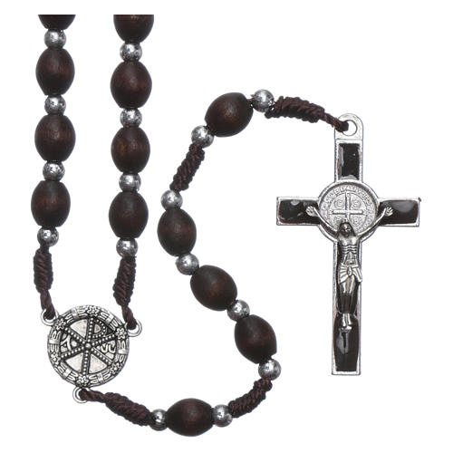 Rosary in oval wood brown with pearls in silver setting 1