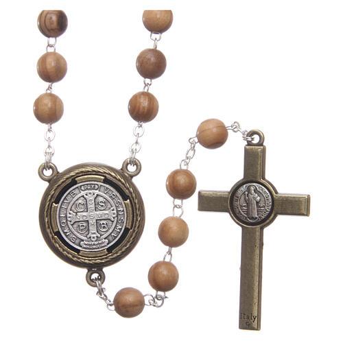 Rosenkranz aus Holz mit Audio-Gebet auf Italienisch Heiliger Benedikt, 8 mm