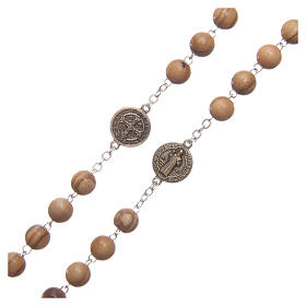 Rosary in light brown wood, talking center piece telling the prayer of Saint Benedict in ITALIAN 8 mm s3