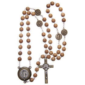 Rosary in light brown wood, talking center piece telling the prayer of Saint Benedict in ITALIAN 8 mm s4
