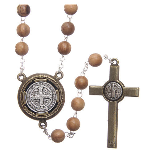 Rosary in light brown wood, talking center piece telling the prayer of Saint Benedict in ITALIAN 8 mm 2