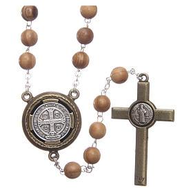 Terço madeira clara medalha falante oração São Bento ITA 8 mm