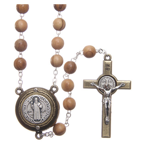 Rosary in light brown wood, talking center piece telling the prayer of Saint Benedict in ITALIAN 8 mm 1