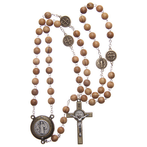 Rosary in light brown wood, talking center piece telling the prayer of Saint Benedict in ITALIAN 8 mm 4