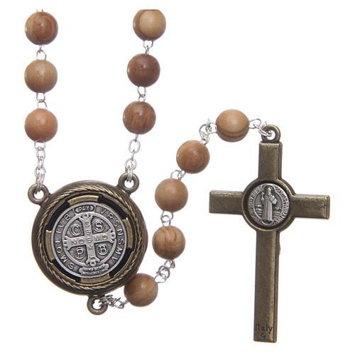 Rosenkranz aus Holz mit Audio-Gebet auf Englisch Heiliger Benedikt, 8 mm