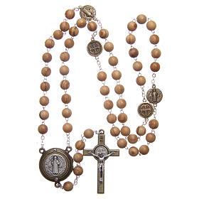 Chapelet bois clair médaille parlante prière St Benoît ANG 8 mm s4