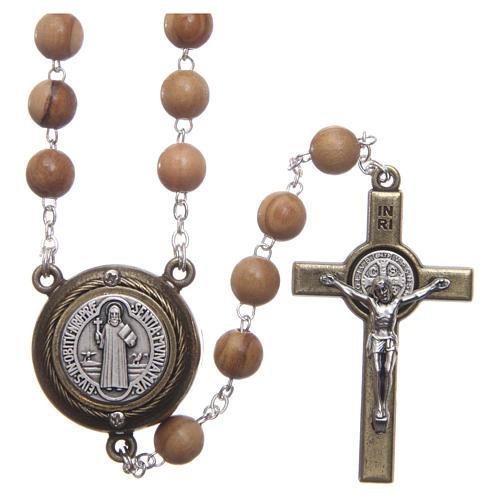 Chapelet bois clair médaille parlante prière St Benoît ANG 8 mm 1