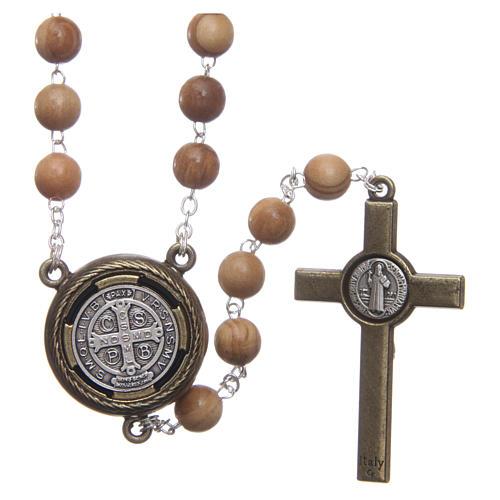 Chapelet bois clair médaille parlante prière St Benoît ANG 8 mm 2