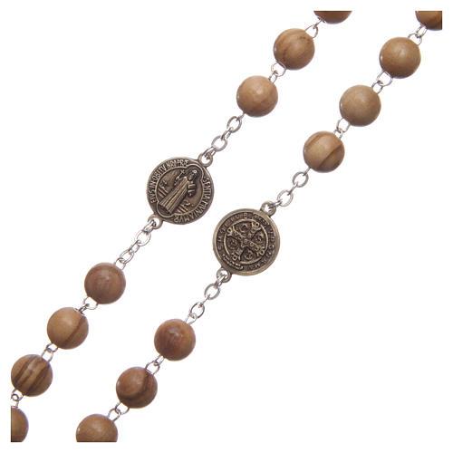 Chapelet bois clair médaille parlante prière St Benoît ANG 8 mm 3