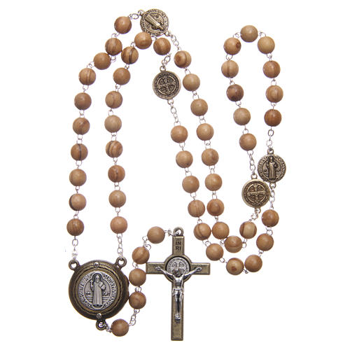 Chapelet bois clair médaille parlante prière St Benoît ANG 8 mm 4
