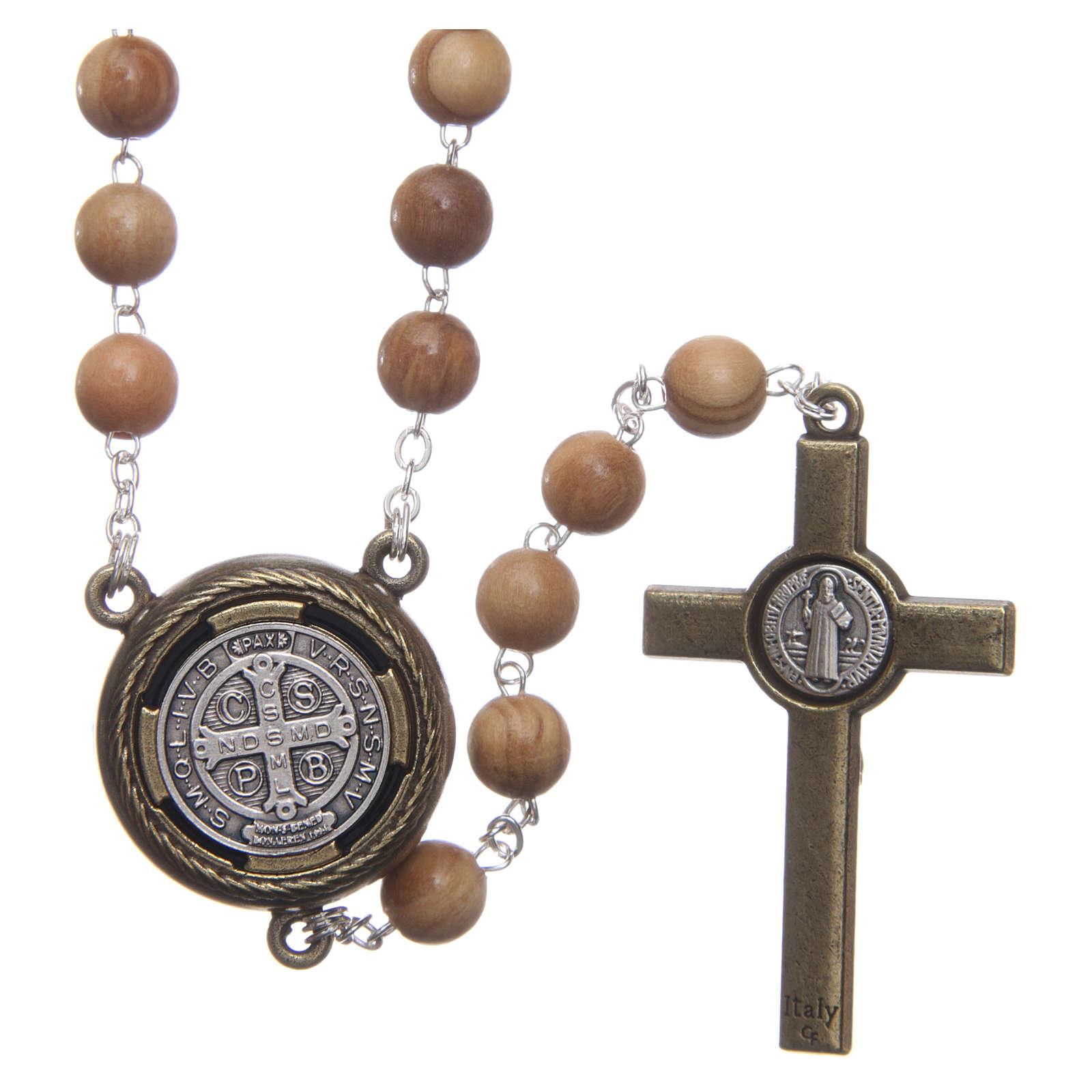 Rosario legno chiaro crociera parlante preghiera S Benedetto ING 8 mm 4