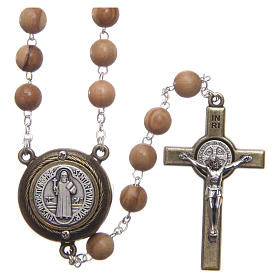 Terço madeira clara medalha falante oração São Bento ING 8 mm