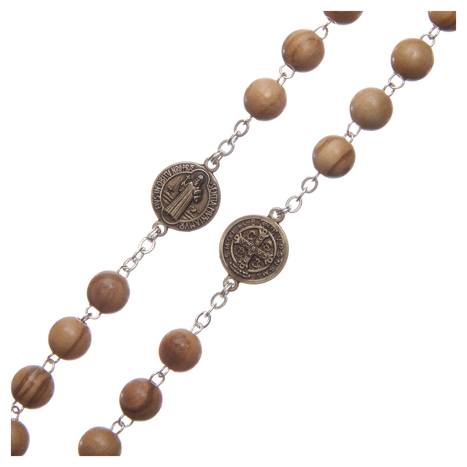 Rosary in light brown wood with Pope Francis talking prayer ITALIAN 8 mm 4
