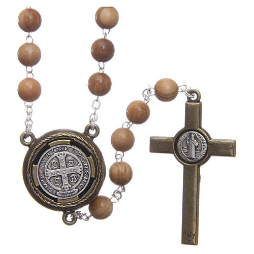 Rosary in light brown wood with Pope Francis talking prayer ITALIAN 8 mm 2