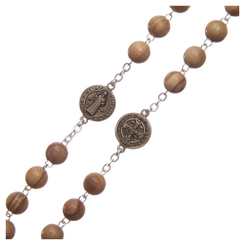 Rosary in light brown wood with Pope Francis talking prayer ITALIAN 8 mm 3