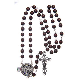 Rosary in burgundy wood with center piece talking Pope Francis prayer ITALIAN 8 mm s4