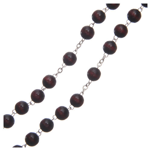 Rosary in burgundy wood with center piece talking Pope Francis prayer ITALIAN 8 mm 3