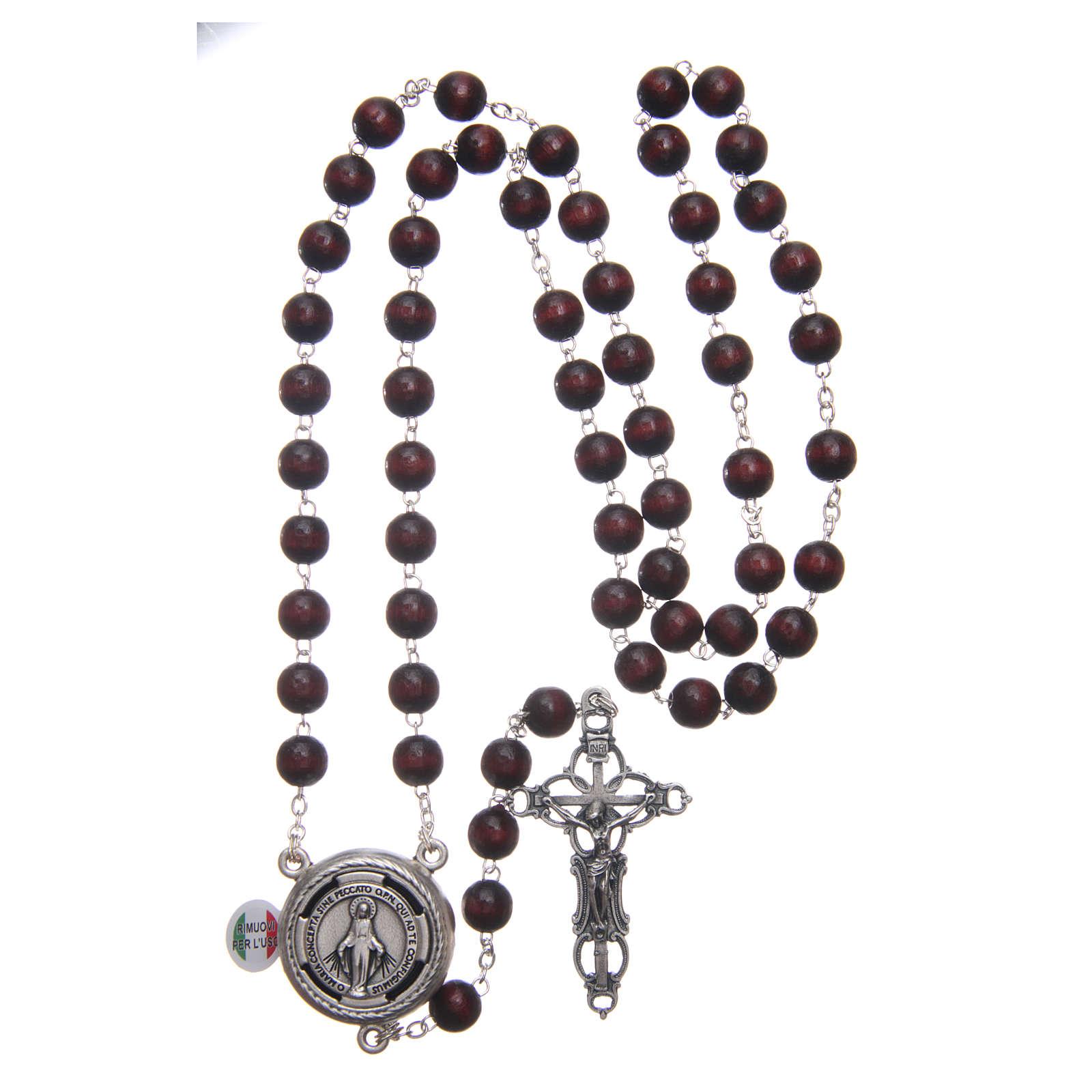 Rosario madera burdeos cruce hablante oración Papa Francisco ITA 8 mm 4