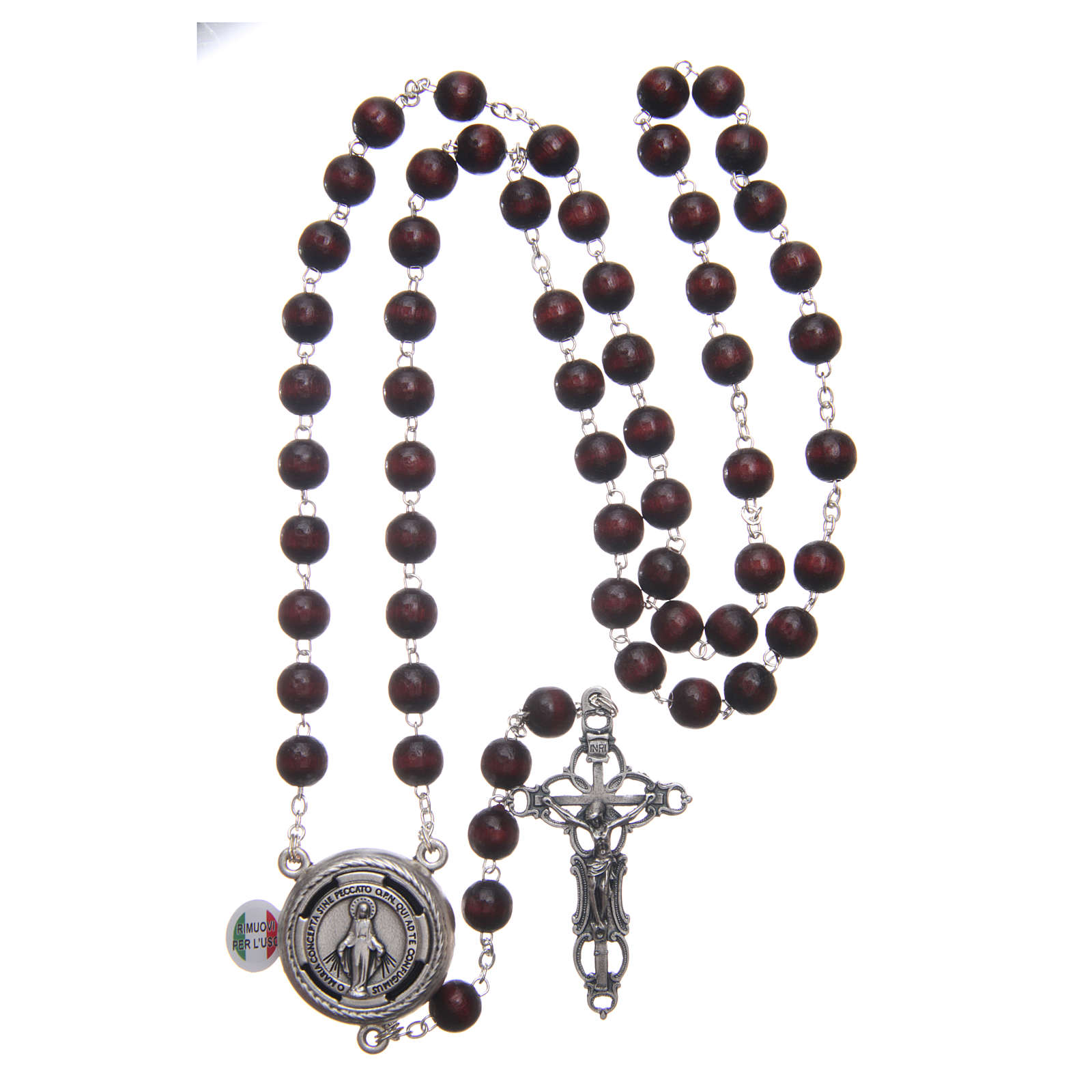 Rosary in burgundy wood with center piece talking Pope Francis prayer ITALIAN 8 mm 4