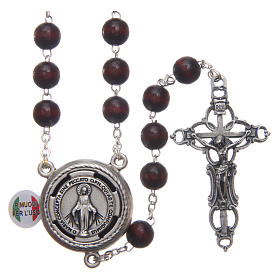Rosary in burgundy wood with center piece talking Pope Francis prayer ITALIAN 8 mm s1