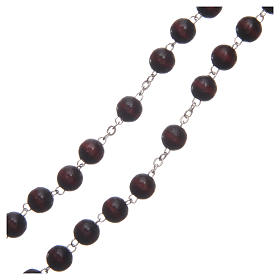 Rosary in burgundy wood with center piece talking Pope Francis prayer ITALIAN 8 mm s3