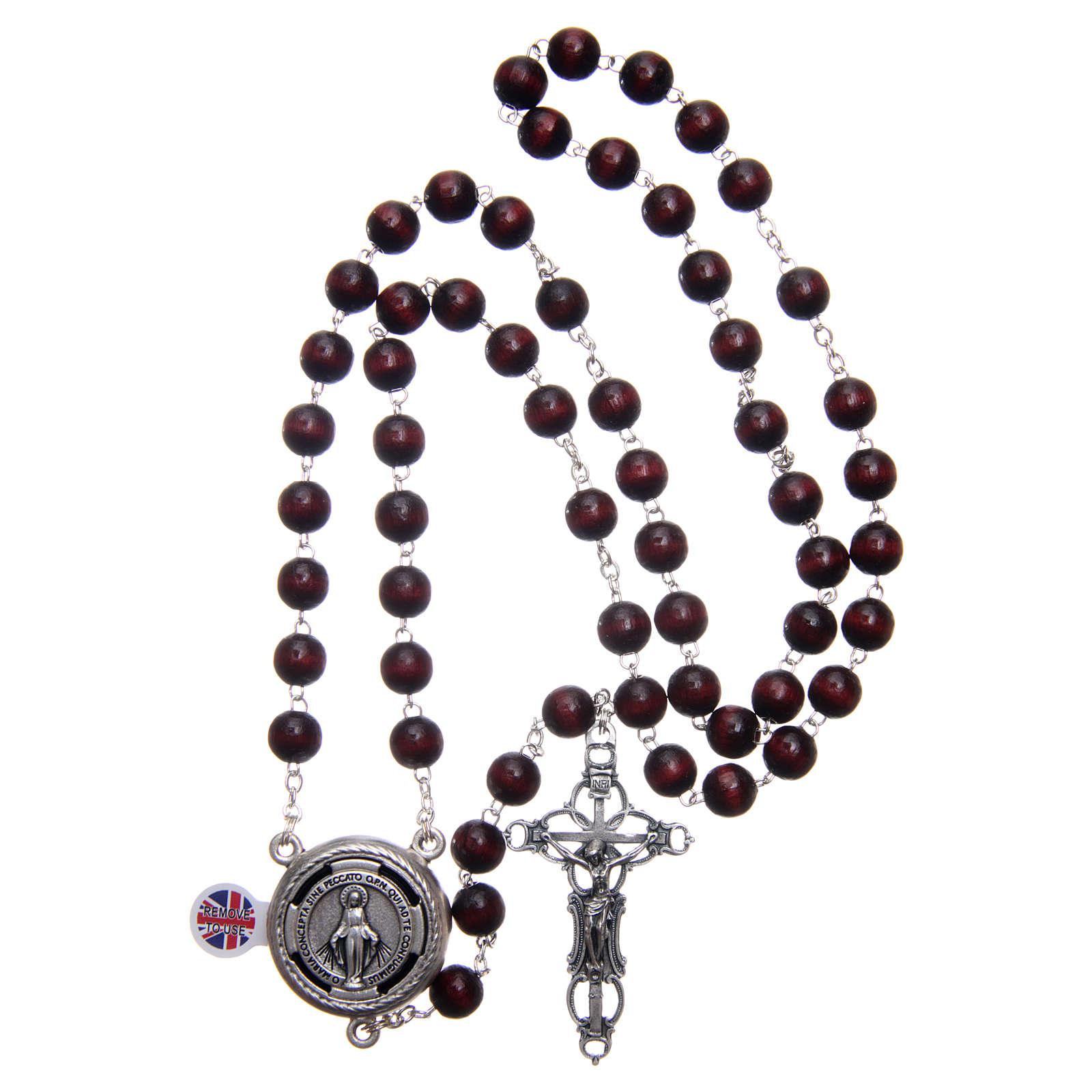 Rosario madera burdeos cruce hablante oración Papa Francisco ING 8 mm 4