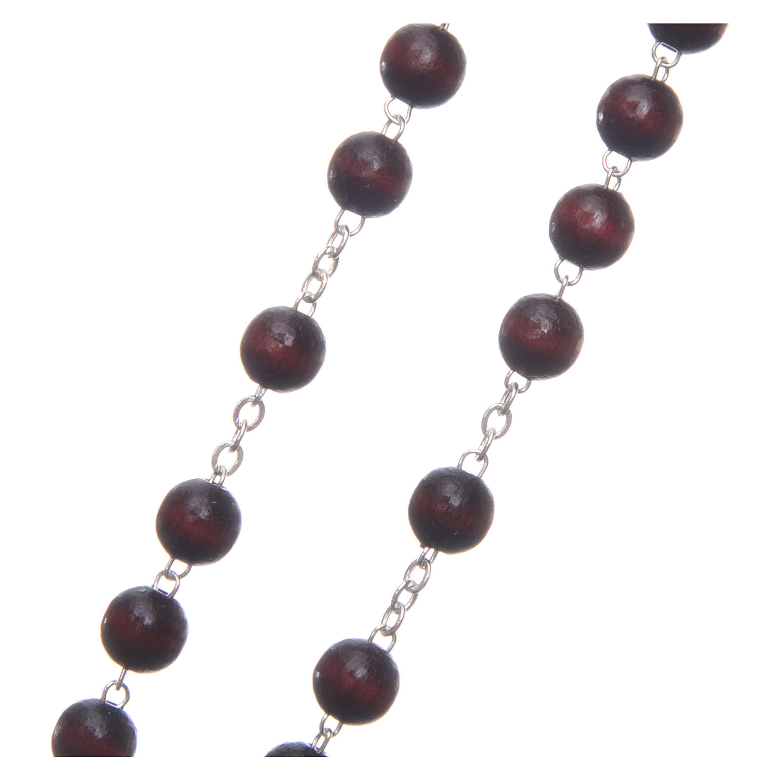 Rosary in burgundy wood with center piece, talking, Pope Francis prayer ENGLISH 8 mm 4