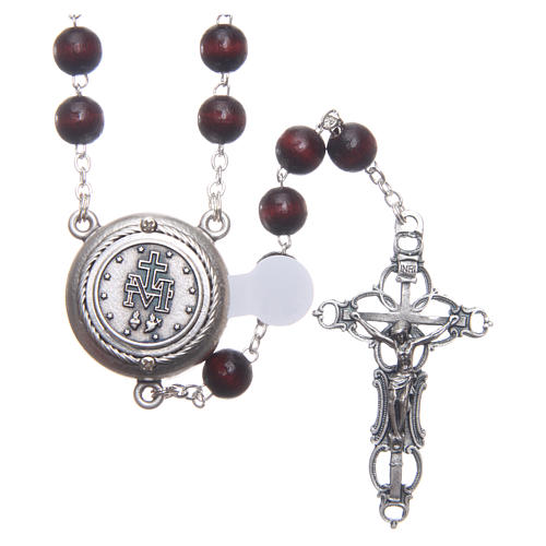 Rosary in burgundy wood with center piece, talking, Pope Francis prayer ENGLISH 8 mm 2
