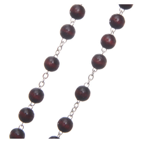 Rosary in burgundy wood with center piece, talking, Pope Francis prayer ENGLISH 8 mm 3